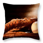 Old Baseball Glove Throw Pillow by Olivier Le Queinec