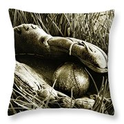 Old baseball glove with ball in the grass Throw Pillow by Sandra Cunningham