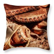 Old Baseball Gloves Throw Pillow by Bill  Wakeley