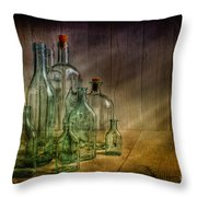 Old Bottles Throw Pillow by Veikko Suikkanen
