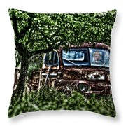 Old Car With Ghost Driver Throw Pillow by Dan Friend