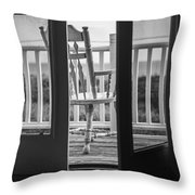 Old Chair At The Beach House Throw Pillow by Diane Diederich