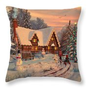 Old Christmas Cottage Throw Pillow by Dominic Davison