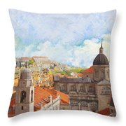 Old City Of Dubrovnik Throw Pillow by Catf