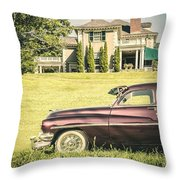 1951 Mercury Sedan In Front Of Large Mansion Throw Pillow by Edward Fielding
