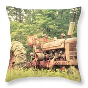 Old Farmall Tractor At Sunrise Throw Pillow by Edward Fielding