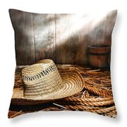 Old Farmer Hat And Rope Throw Pillow by Olivier Le Queinec