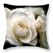 Old Lace Rose Bouquet Throw Pillow by Jennie Marie Schell