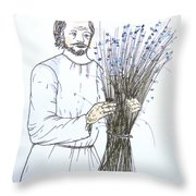 Old Man And Flax Throw Pillow by Marwan George Khoury