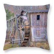 Old Mill Water Wheel And Sluce Throw Pillow by Douglas Barnett