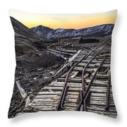 Old Mining Tracks Throw Pillow by Aaron Spong