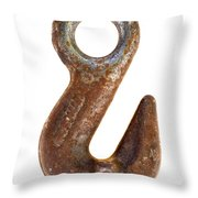 old rusty hook Throw Pillow by Michal Boubin