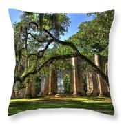 Old Sheldon Church Ruins 2 Throw Pillow by Reid Callaway