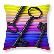 Old Skeleton Keys On Rows Of Colored Pencils Throw Pillow by Garry Gay