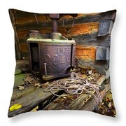 Old Sorghum Press Throw Pillow by Debra and Dave Vanderlaan