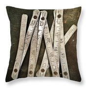 Old Tape-measure Throw Pillow by Carlos Caetano