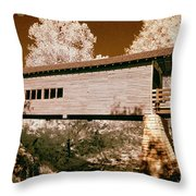 Old Time Covered Bridge Throw Pillow by Paul W Faust -  Impressions of Light
