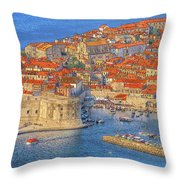 Old Town Dubrovnik Throw Pillow by Douglas J Fisher