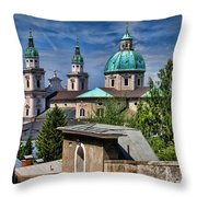 Old Town Salzburg Austria In Hdr Throw Pillow by Sabine Jacobs
