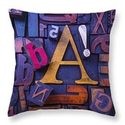 Old Typesetting Fonts Throw Pillow by Garry Gay