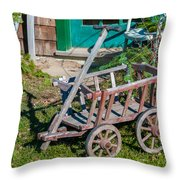 Old Wagon Throw Pillow by Guy Whiteley