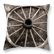 Old Wagon Wheel Throw Pillow by Olivier Le Queinec