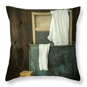 Old Washboard Laundry Days Throw Pillow by Edward Fielding