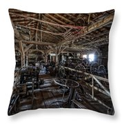 OLD WEST WAGON STORAGE and SHOP Throw Pillow by Daniel Hagerman