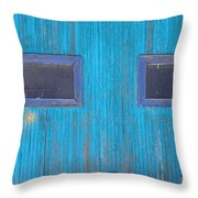 Old Wood Blue Garage Door Throw Pillow by James BO  Insogna