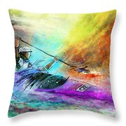 Olympics Canoe Slalom 03 Throw Pillow by Miki De Goodaboom