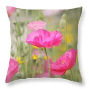 On A Summer Day - Pink Poppy Throw Pillow by Kim Hojnacki