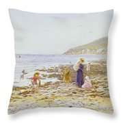 On The Beach Throw Pillow by Helen Allingham