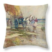 On The Beach  Throw Pillow by Oswald Garside