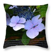 On The Fence Hydrangea Eph 3 14 21 Throw Pillow by Nicki Bennett