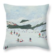 On The Slopes Throw Pillow by Judy Joel