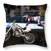 One With The Bike Throw Pillow by Karol  Livote