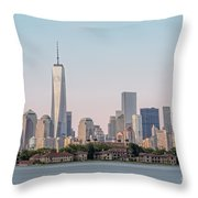 One World Trade Center And Ellis Island 2 Throw Pillow by Susan Candelario