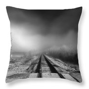Onward - Railroad Tracks - Fog Throw Pillow by Jason Politte