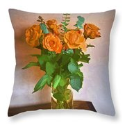 Orange And Green Throw Pillow by John Hansen