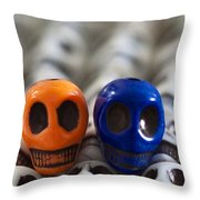 Orange And Navy Blue Throw Pillow by Mike Herdering