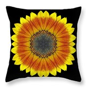 Orange and Yellow Sunflower Flower Mandala Throw Pillow by David J Bookbinder