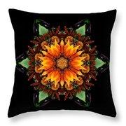 Orange Gazania IIi Flower Mandala Throw Pillow by David J Bookbinder