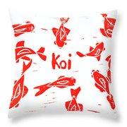 Orange Lazy Koi Throw Pillow by Lynn-Marie Gildersleeve