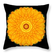 Orange Nasturtium Flower Mandala Throw Pillow by David J Bookbinder
