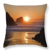 Orange Sunset Behind Offshore Rocks Throw Pillow by Philippe Widling