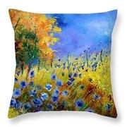 Orange Tree And Blue Cornflowers Throw Pillow by Pol Ledent