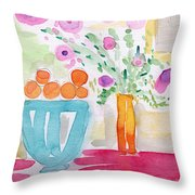 Oranges In Blue Bowl- Watercolor Painting Throw Pillow by Linda Woods