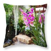 Orchid Garden Throw Pillow by Carey Chen