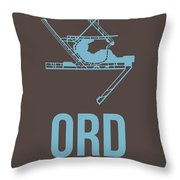 Ord Chicago Airport Poster 2 Throw Pillow by Naxart Studio