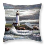 Oregon Lighthouse Beam of hope Throw Pillow by Gina Femrite